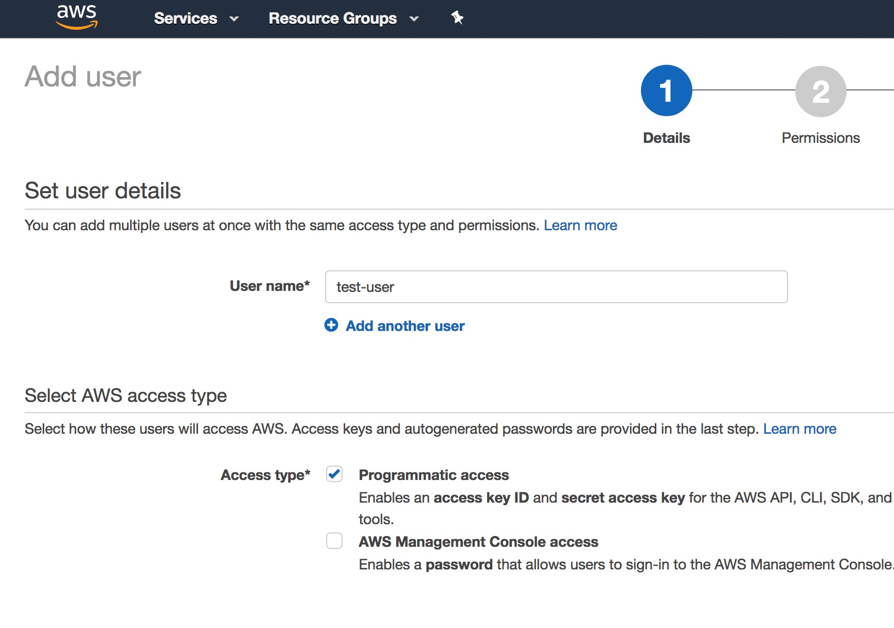Aws add user 1