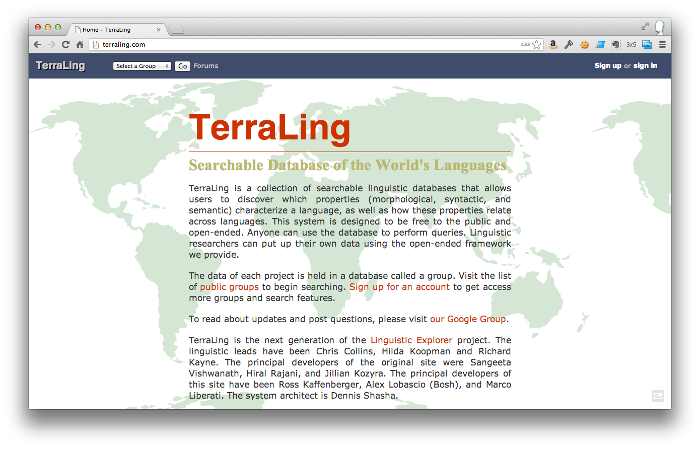 Terraling: searchable database of the world's languages